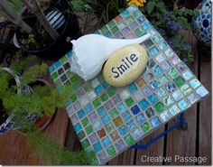 """Mosaic Table / glass tile. I need to learn how to make stuff like this. I have never been very """"crafty"""" ;)"""