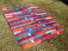 Burnt and Blue Patchwork Quilt | A contemporary quilt featur… | Flickr