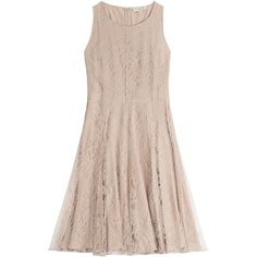 Burberry London Lace Dress ($1,545) ❤ liked on Polyvore featuring dresses, burberry, beige, summer dresses, summer cocktail dresses, beige cocktail dress, pink dress and metallic skater skirt