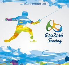 Colorful Fencing Olympics Rio 2016 design. Silhouette in light-blue, yellow, purple, orange and green over a white background. Includes Rio 2016 official