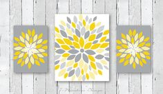 Flower Burst Art Wall Art, Floral Abstract Art Prints; Fabulous and very modern flower bursts of Designed in gray, yellow, mustard & white and