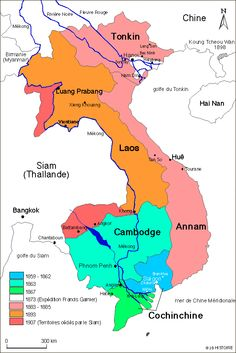 Indochina conquest map- - - The colonization of the various territories which later made up Indochine française took place over a number of years. The French conquest began in the South, in Cochinchina, in the 1860s. Throughout the next 30 years, France pushed steadily North, gaining territories in Annam and Tonkin, and also Cambodia and Laos. These territories were formally brought together under the name Indochine française in1885