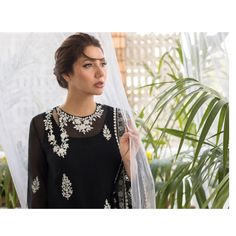 """Sania Maskatiya Official on Instagram: """"A beautiful onyx organza kurta with a side key hole neckline is delicately rendered with aari embroidery and enhanced with lace detailing.…"""" Angrakha Style, Aari Embroidery, Neckline, Key, Lace, Beautiful, Instagram, Plunging Neckline, Unique Key"""