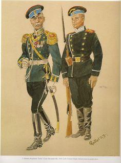 """2º Regimiento de Infantería """"Sofía"""" (Zar: Alejandro III) 1910. Izquierda: Coronel. Derecha: Soldado en uniforme de parada."""
