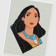 PDF Cross Stitch pattern  0209.Pocahontas  INSTANT by PIXcross, $3.95