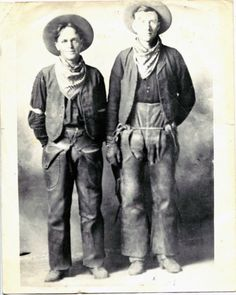 Cowboys. Albert W. Perkins, b. 1890, a real working cowboy, taken we think in 1918. His friend to the right is unnamed. Taken in Nebraska.