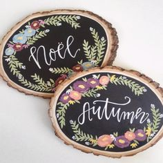 Wood slices add a beautiful rustic feel to any space! Whether it be for your gallery wall at home or a special little piece for your wedding, wooden slices can be the perfect addition!  Each slice is hand-painted with love and sealed with an acrylic sealant to ensure your design will last. Size, shape, and look of the wood does vary slightly - approximate length (or height depending on layout) is 9-10.  Each piece is ready to be hung, with hardware attached.  >> Because this item is MADE TO…
