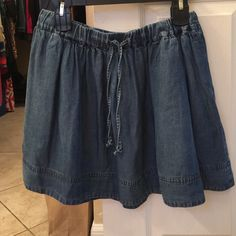 J. Crew soft chambray mini skirt small denim Like new with no flaws. Soft chambray lightweight denim skirt by J crew. Elasticized waist. Smoke free home. J. Crew Skirts Mini