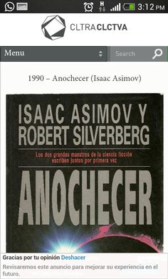 Anochecer- Isaac Asimov Isaac Asimov, Sci Fi Fantasy, Literacy, Literature, Science, Reading, My Love, Books, Book Covers
