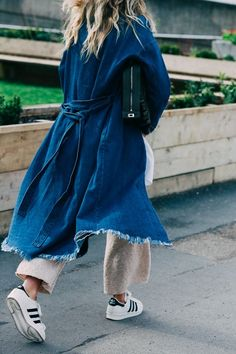 denim coat, knit pants, and adidas!
