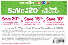 babies r us coupon oh baby save 10 20 off your purchase exp 1022