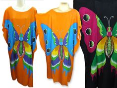 vtg retro thai HIPPIE BOHO batwing rayon kaftan butterfly tunic tent maxi dress #Unbranded #Tunic #Casual