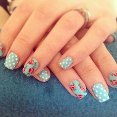 Cath Kidston nail art. All free handed using shellac