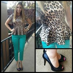leopard peplum and teal pants #whatyawearinwednesday