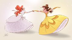 Baxter's Ballroom Beauties - the 2 Disney heroines animated by James Baxter, Giselle and Belle