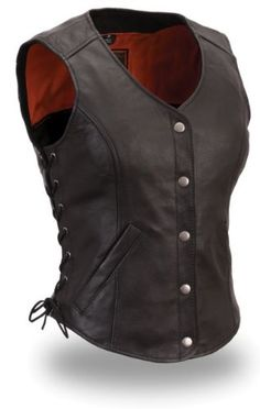 Save $ 10 order now Womens Motorcycle Biker Classic Soft Leather Vest with Side