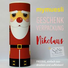 Freebie Nikolaus mymuesli Geschenk-Verpackung von SaNe-Stücke. Ausdrucken, aufkleben und fertig.