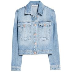 Mango Cropped Denim Jacket, Medium Blue (37 AUD) ❤ liked on Polyvore featuring outerwear, jackets, coats, tops, denim jackets, long sleeve jacket, collar jacket, blue jean jacket, long sleeve crop jacket and cotton jean jacket