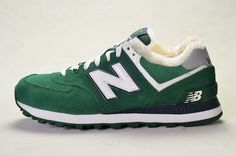 Joes New Balance ML574CPY Sneakers Suede Hunter Green White Wool Fur Winter Mens Shoes