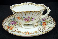 Unusual Antique Limoges Footed Tea Cup & Saucer