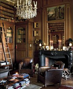 Château de Champchevrier, France  I love all the combination of wood and leather, with an elegant chandelier. Comfy and classy.