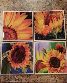Check out this item in my Etsy shop https://www.etsy.com/listing/97511796/sunflower-coaster-set-wine-coaster-drink