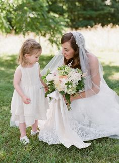 Classic wedding style, cotton & lace flower girl dress, Juliet cap veil // Jen Fariello Photography