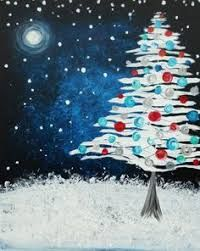 View Paint and Sip Artwork - Pinot's Palette Christmas Canvas, Christmas Paintings, Noel Christmas, Christmas Night, Winter Painting, Winter Art, Diy Painting, 2015 Winter, Illustration Noel