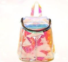 Cheap bags school bags, Buy Quality laser backpack directly from China backpack girls Suppliers: Harajuku laser backpack girls candy color small transparent bag school bag ulzzang short travel bags My Bags, Purses And Bags, Clear Backpacks, Unique Backpacks, Hot High Heels, Clear Bags, Oscar Wilde, Looks Style, Mode Style
