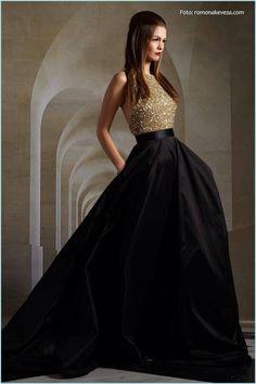 Vestido sobrio para damas de honor o invitada a boda, negro dorado