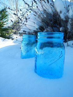 Vintage Style Blue Mason Jar by CrownedWithBeauty on Etsy