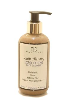 tlc naturals scalp therapy exfoliating hair cleanser. made with betonite clay, white willow bark, and more natural goodies. soap-free, surfactant-free, SLS-free, paraben-free, PH balanced & chemical-free. cleans, exfoliates and purifies without drying out the scalp or hair. Formulated for with scalp issues such as dandruff, seborrhoeic dermatitis, scalp eczema, itchy & dry scalp. Also very good for people with hair porosity problems and can be used by ALL hair types.