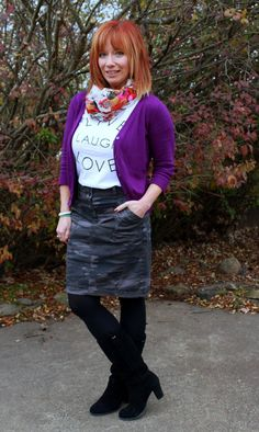 Fashion Fairy Dust camo pencil skirt, graphic tee, purple cardigan, floral print infinity scarf, black boots