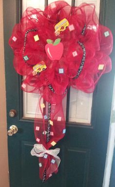Teacher Deco Mesh Wreath. $50.00, via Etsy.