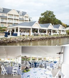 Navy blue & white outdoor lakeshore wedding at Baypointe Inn on Gun Lake, Michigan.