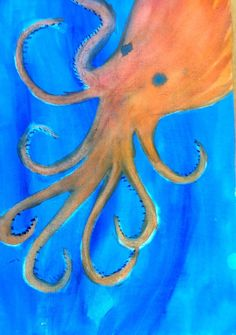 4th grade ~ Human & Animal ~ Octopus ~ watercolor painting