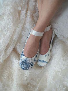 Blue Toile Love Birds Bridal Ballet Slipper T oile de jouy