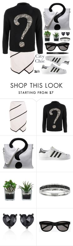 """Street style"" by simona-altobelli ❤ liked on Polyvore featuring Moschino Cheap & Chic, adidas, Threshold, Belk & Co., Yves Saint Laurent and Trish McEvoy"