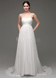 Vestido de casamento do Chiffon a linha Império cintura com cinto de pérolas