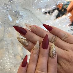 Red Matte Nails With Some Glitter