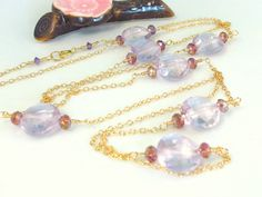 Pink amethyst coin gold filled opera length necklace by KBlossoms, $70.00