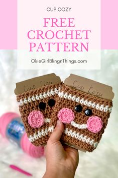Gingerbread Cup Cozy - Free Crochet PatternThanks ingridkortendieck for this post.This is a great project to whip up to take to markets and people love them! This is my most popular 'Christmas' Cup Cozy that I have made yet! Quick Crochet Patterns, Christmas Crochet Patterns, Holiday Crochet, Crochet Designs, Crochet Christmas Gifts, Christmas Knitting, Crochet Patterns Amigurumi, Knitting Patterns, Crochet Coffee Cozy