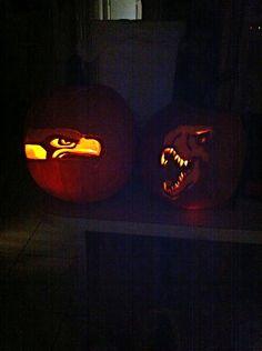 Seahawks pumpkin carving