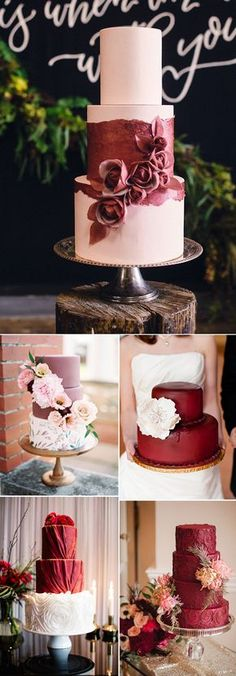 stunning fall marsala wedding cakes