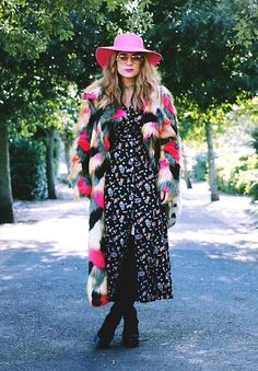 Get this look: http://lb.nu/look/7117564  More looks by Helena L-C: http://lb.nu/bellsfashion  Items in this look:  River Island Pink Hat, Pretty Little Thing Maxi Faux Fur Coat, We Are Cow Vintage Cowgirl Dress, Asos Thigh High Boots