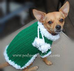 Christmas Dog Sweater Pom Pom Dog Sweater by poshpoochdesigns