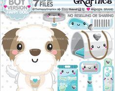 Perros Clipart, 80% de uso comercial perro gráfico, perro partido, planificador accesorios, gráfica de Shih Tzu, Shih Tzu