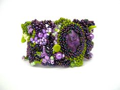 Beaded jewelry Seed bead jewelry Beaded bracelet cuff by ibics, $84.00