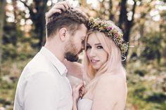 by Studio Obrazkowe / #romantic #emotions #forest #love #weddingsession #couple #groom #bride #wedding #bohobride #fall #newlyweds #poland #floralcrown #elvenwedding