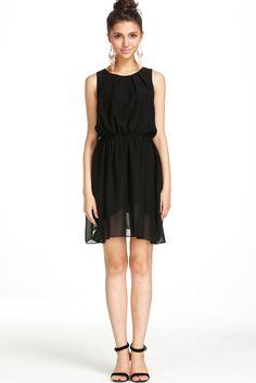 Black Sleeveless Pleated Front Short Dress